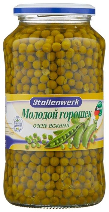 Зелёный горошек Stollenwerk молодой деликатесный очень нежный, стеклянная банка 720 мл
