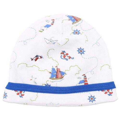 Шапка Linas Baby размер 38-40 (1-3), белый/голубойГоловные уборы<br>