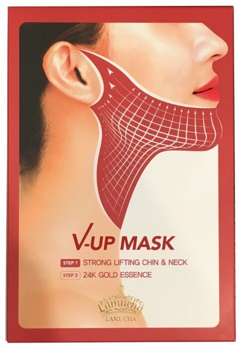 Lamucha гидрогелевая лифтинг маска для шеи и области подбородка V-Up Mask