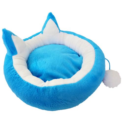 Лежак для собак и кошек LOORI с ушками и хвостиком 49х49х12 см голубой