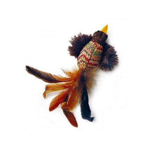 Игрушка для кошек GiGwi Cat Toys Птичка с перьями (75264) коричневый дразнилка для кошек gigwi feather teaser с ручкой 75429 коричневый черный