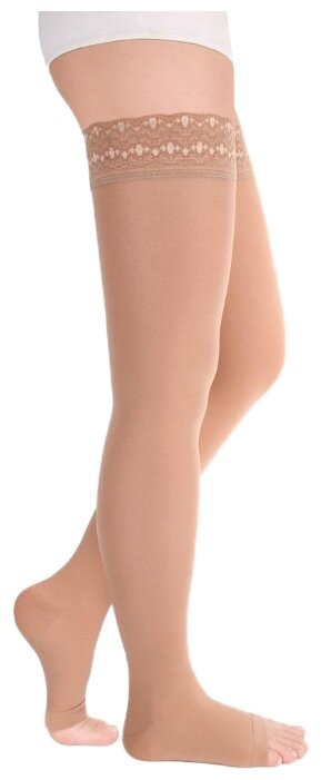 Чулки Idealista 2 класс с открытым носком и ажурной резинкой ID-311