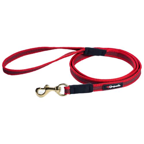 Поводок для собак Gripalle прорезиненный, фурнитура из латуни красный 1.5 м 18 ммПоводки для собак<br>