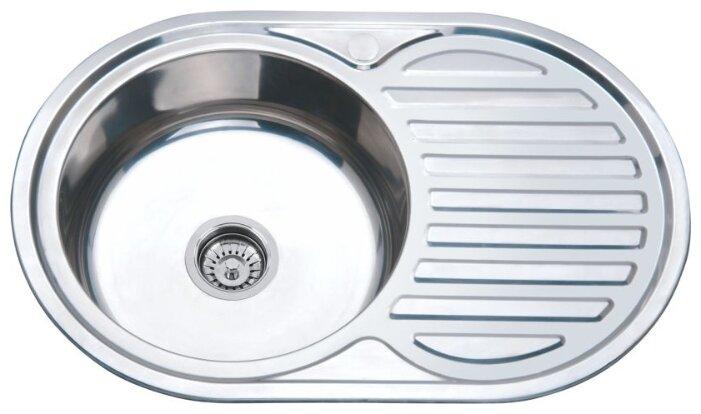 Врезная кухонная мойка Ростовская Мануфактура Сантехники MS8-7750OVL 77х50см нержавеющая сталь