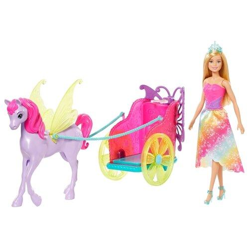 Фото - Кукла Barbie Dreamtopia Сказочный экипаж с фантастической лошадью, 29 см, GJK53 кукла barbie dreamtopia