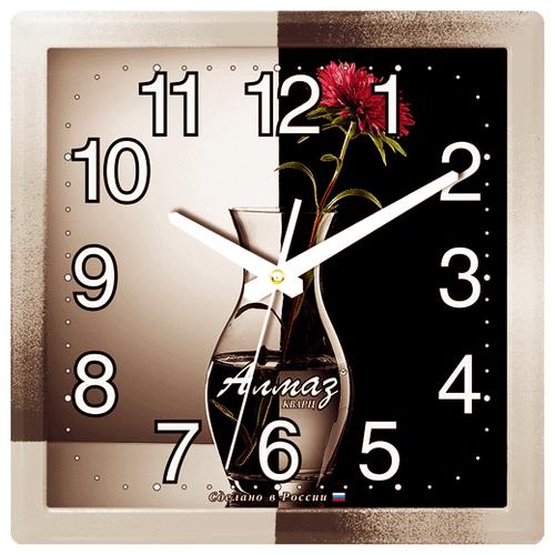 Часы настенные кварцевые Алмаз K04 серый/черный часы настенные кварцевые алмаз e66 серый