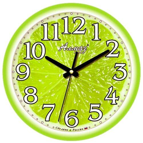 Часы настенные кварцевые Алмаз B27 зеленыйЧасы настенные<br>