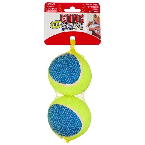 Мячик для собак KONG Ultra SqueakAir большой, 2 шт (AUT1E) желтый/синий
