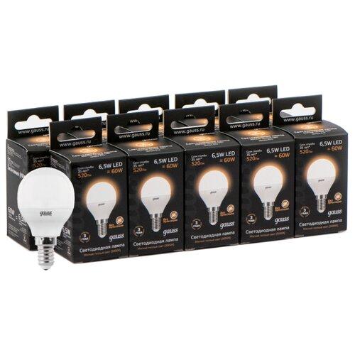 Фото - Упаковка светодиодных ламп 10 шт gauss 105101107, E14, G45, 6.5Вт упаковка светодиодных ламп 10 шт gauss 105101207 e14 g45 6 5вт