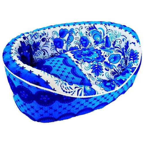 Лежак для собак и кошек LOORI Гжель 49х36х17 см голубой