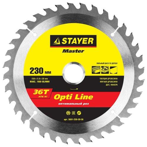 Пильный диск STAYER Opti Line 3681-230-30-36 230х30 ммПильные диски<br>