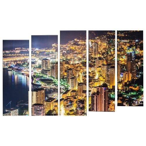 Модульная картина Картиномания Ночной вид на Монако с горы 140х90 смКартины, постеры, гобелены, панно<br>