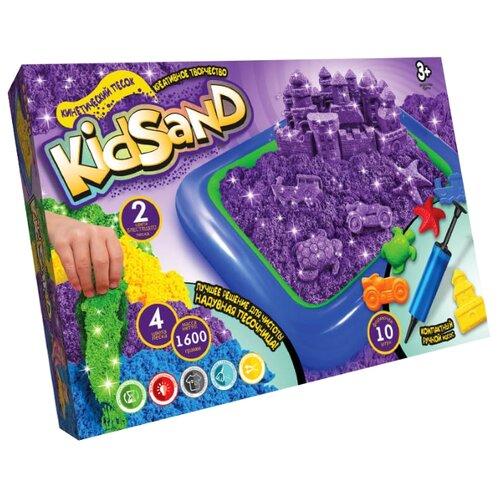 Купить Кинетический песок Danko Toys Набор Kidsand 4 цвета с песочницей, 1.6 кг