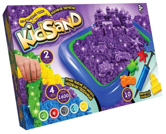 Кинетический песок Danko Toys Набор Kidsand 4 цвета с песочницей