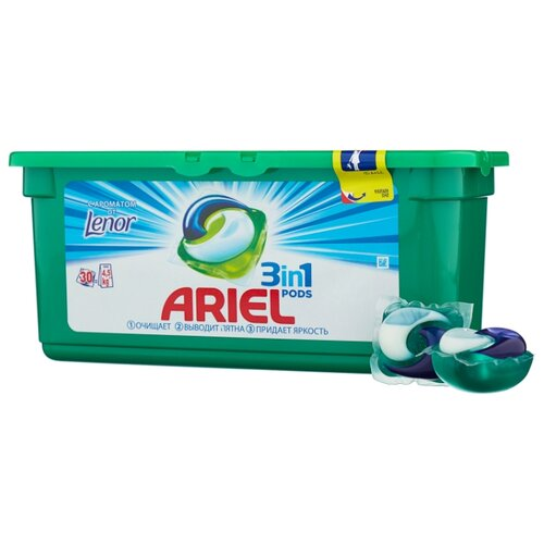 Ariel капсулы PODS 3-в-1 Touch of Lenor Fresh, контейнер, 30 шт капсулы ariel 30 шт ariel