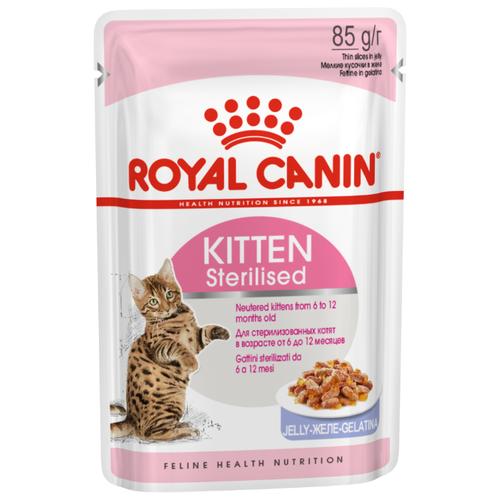 Корм для стерилизованных котят Royal Canin мясное ассорти 85 г (кусочки в желе) cat wet food royal canin ultra light pieces in jelly 24 85 g cat wet food royal canin aging 12 pieces in jelly 85 g 24
