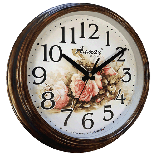 Часы настенные кварцевые Алмаз A07 коричневый/бронзаЧасы настенные<br>