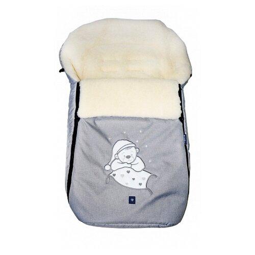 Купить Конверт-мешок Womar S77 Exlusive Bear melange fabric в коляску 95 см светло-серый, Конверты и спальные мешки
