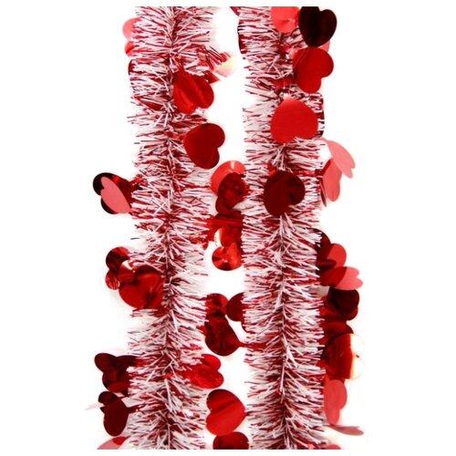 Мишура Феникс Present новогодняя с сердечками 200 х 6 см, красный magic time мишура золотые листья 6 200 см