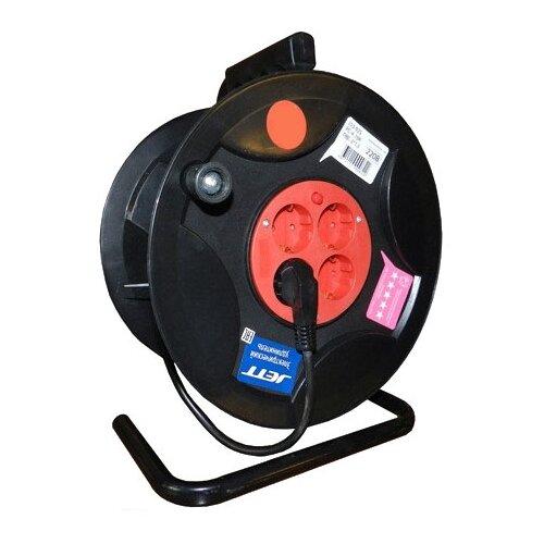 Jett Электрический удлинитель на катушке 4 гн. с заземлением 40 м (ПВС 3x1,5) 1208470 brennenstuhl удлинитель на катушке garant 40 м прорезинный кабель cablepilot