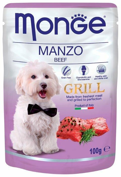 Корм для собак Monge Grill для здоровья кожи и шерсти, для здоровья костей и суставов, говядина 24шт. х 100г