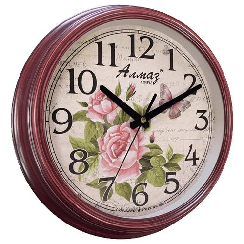Часы настенные кварцевые Алмаз A05 бордовый/бежевый