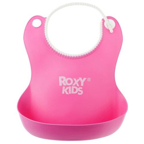 ROXY-KIDS Нагрудник мягкий с кармашком, 1 шт., расцветка: розовый