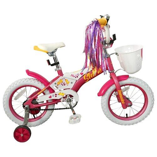 Детский велосипед STARK Tanuki 14 Girl (2019) розовый/белый/желтый (требует финальной сборки) велосипед stark 20 foxy 14 girl бирюзовый розовый