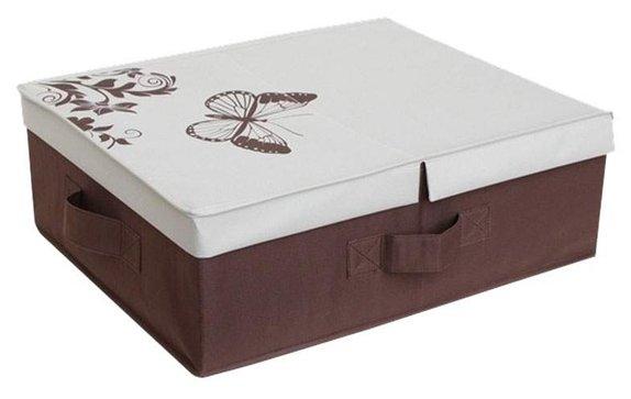 HAUSMANN Ящик для хранения 4F-102B 43x54x18 см коричнево-бежевый с бабочкой