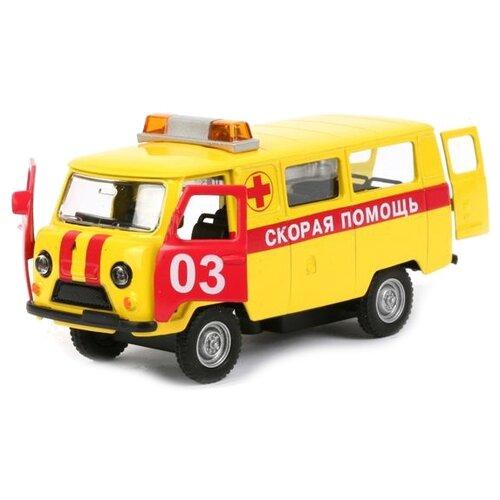 Купить Микроавтобус ТЕХНОПАРК УАЗ 39625 Скорая помощь (CT-1232WB) 1:43 желтый/красный, Машинки и техника