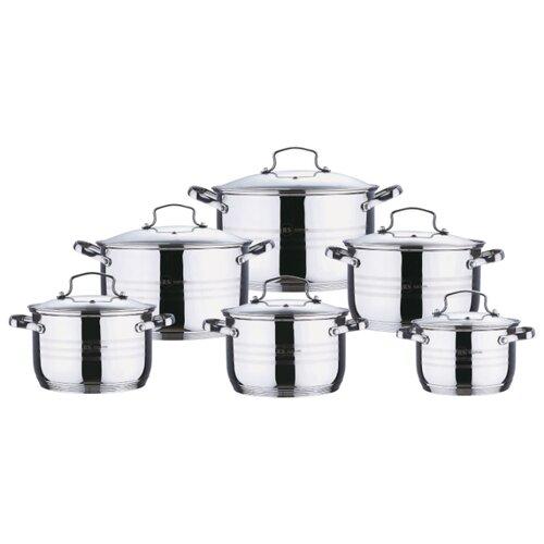 Набор кастрюль Rainstahl 1227-12RS/CW 12 пр. стальной набор посуды rainstahl с антипригарным покрытием 12 предметов цвет белый 1855 12rs cw мrb