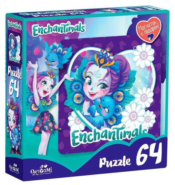 Пазл Origami Enchantimals Пэттер Павлина и Флэп (03555), 64 дет.