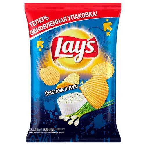 Чипсы Lay s картофельные Сметана и лук рифленые, 80 г