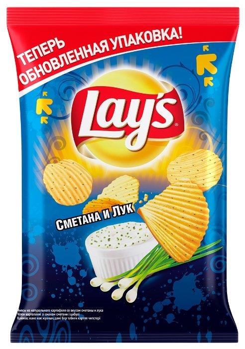 Чипсы Lay's картофельные Сметана и лук рифленые