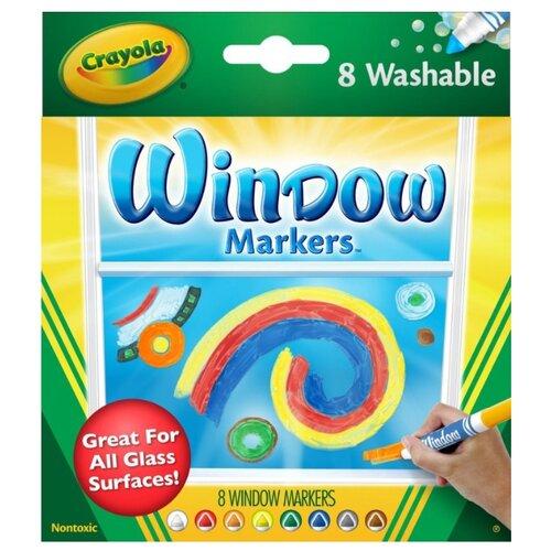 Crayola Фломастеры смываемые для рисования на стекле 8 шт. (58-8165) crayola двусторонние фломастеры crayola