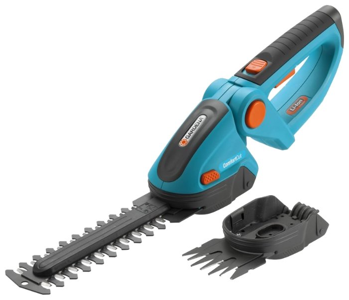 Ножницы-кусторез аккумуляторный GARDENA комплект для газонов и кустарников ComfortCut (8897-20) 18 см