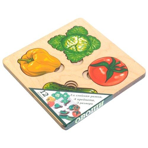 Рамка-вкладыш Нескучные игры Больше-меньше Овощи (7912), 12 дет. рамка вкладыш нескучные игры больше меньше геометрия