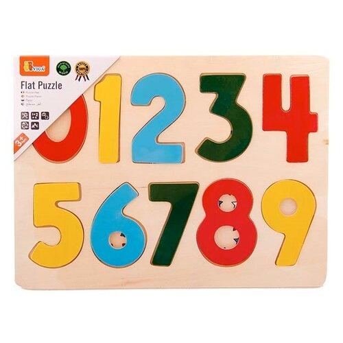 Купить Рамка-вкладыш Viga Цифры (58545), 10 дет. бежевый/красный/желтый, Пазлы