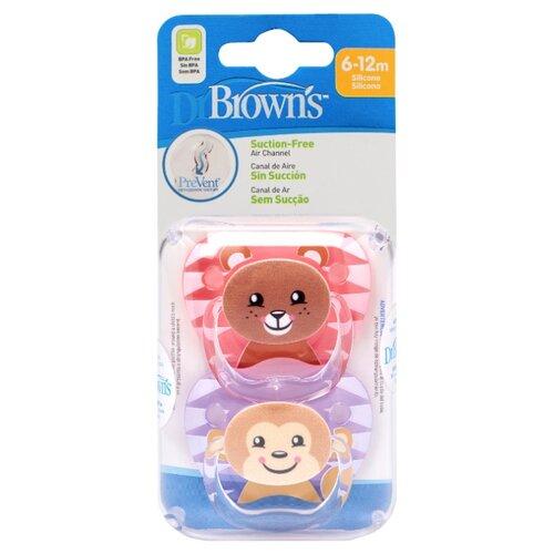 Купить Пустышка силиконовая ортодонтическая Dr. Brown's Prevent 6-12 м (2 шт.) розовый/фиолетовый, Пустышки и аксессуары