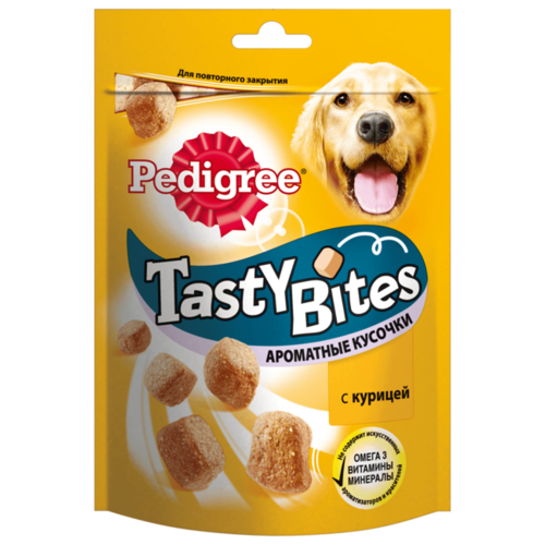 Лакомство для собак Pedigree Tasty Bites ароматные кусочки с курицей, 130 гЛакомства для собак<br>
