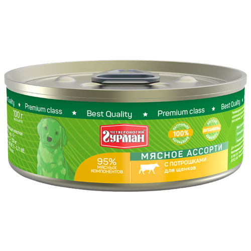 Корм для собак Четвероногий Гурман (0.1 кг) 1 шт. Мясное ассорти с потрошками для щенковКорма для собак<br>