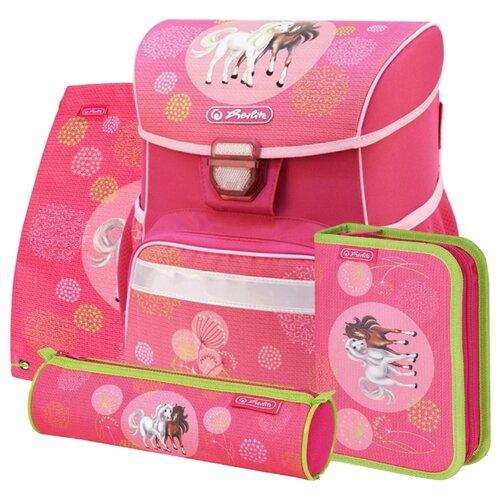 Купить Herlitz Ранец Loop Plus Spring Horses с наполнением, розовый/салатовый, Рюкзаки, ранцы