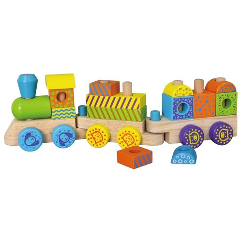 Развивающая игрушка Viga Поезд 50572 белый/желтый/голубой/красный