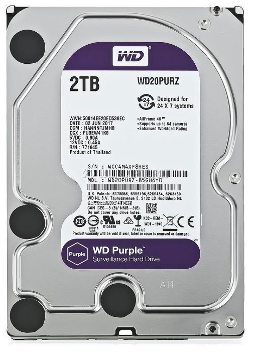Жесткий диск 2Tb - Western Digital Purple WD20PURZ