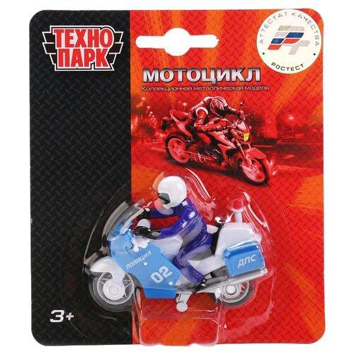 Купить Мотоцикл ТЕХНОПАРК Полиция с фигуркой (SB-16-02-MO-BLC) 7 см синий/белый, Машинки и техника