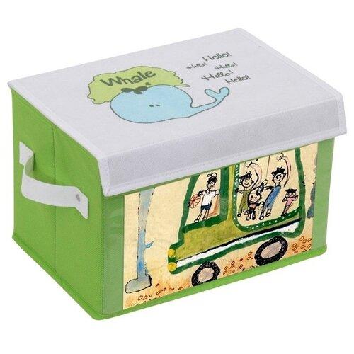 Фото - HAUSMANN Коробка для хранения средняя 30x20x20 см белый/зеленый/с рисунком коробка рыжий кот 33х20х13см 8 5л д хранения обуви пластик с крышкой