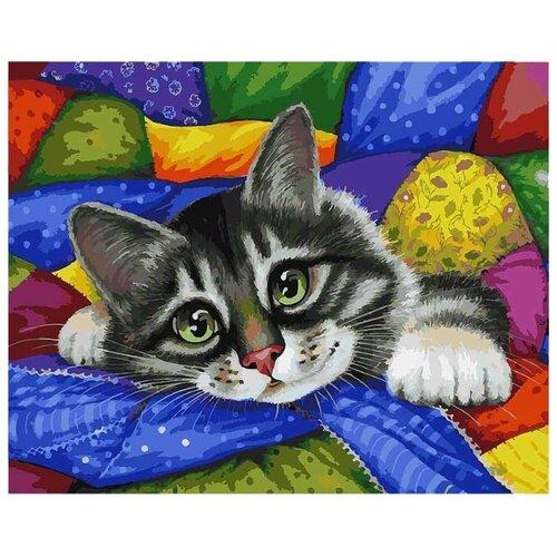 Белоснежка Картина по номерам Котик в лоскутках 40х50 см (002-AB) белоснежка алмазная мозаика белоснежка котик в лоскутках 30х40 см