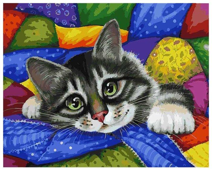 """Белоснежка Картина по номерам """"Котик в лоскутках"""" 40х50 см (002-AB)"""