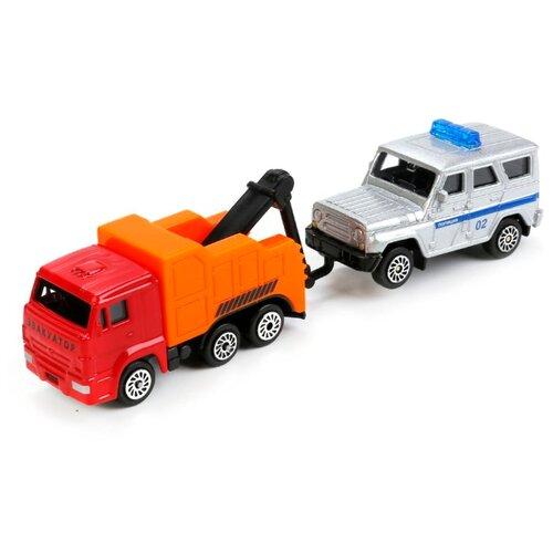 Купить Набор машин ТЕХНОПАРК КамАЗ Эвакуатор с УАЗ Hunter Полиция (SB-17-46+UAZ-WB) оранжевый/белый, Машинки и техника
