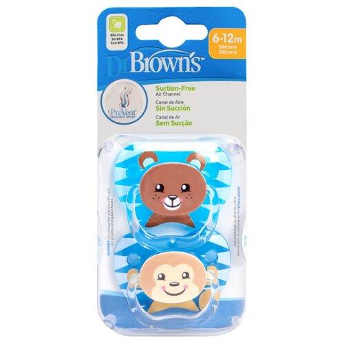 Пустышка силиконовая ортодонтическая Dr. Brown's Prevent 6-12 м (2 шт.) голубой/коричневый пустышка силиконовая классическая dr brown s happypaci 0 6 м 1 шт розовый